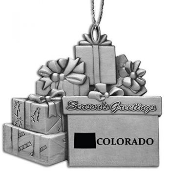 Colorado-State Outline-Pewter Gift Package Ornament-Silver
