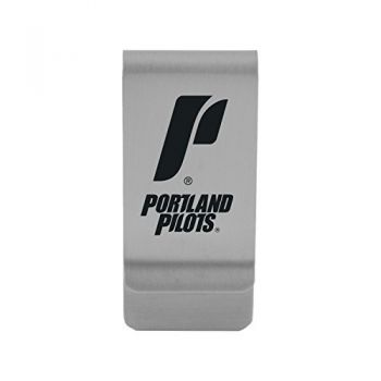 The University of Portland|Money Clip with Contemporary Metals Finish|Solid Brass|High Tension Clip to Securely Hold Cash, Cards and ID's|Gold
