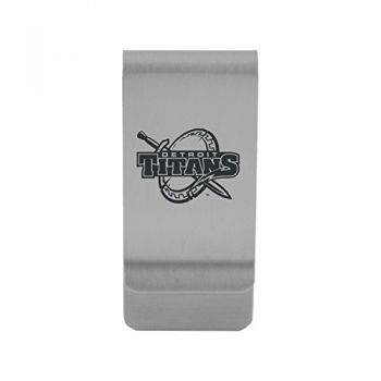 University of Detroit Mercy|Money Clip with Contemporary Metals Finish|Solid Brass|High Tension Clip to Securely Hold Cash, Cards and ID's|Gold