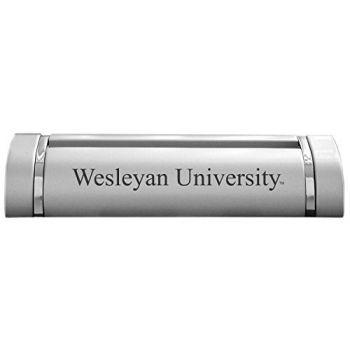Wesleyan University-Desk Business Card Holder -Silver