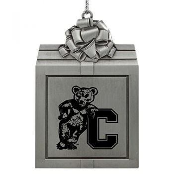 Cornell University-Pewter Christmas Holiday Present Ornament-Silver