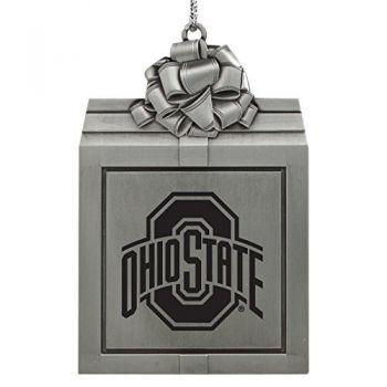 Ohio State University -Pewter Christmas Holiday Present Ornament-Silver