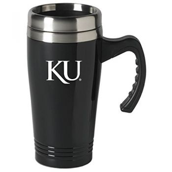 The University of Kansas-16 oz. Stainless Steel Mug-Black
