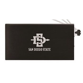8000 mAh Portable Cell Phone Charger-San Diego State University -Black