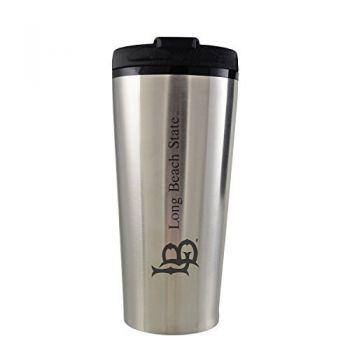 Long Beach State University -16 oz. Travel Mug Tumbler-Silver