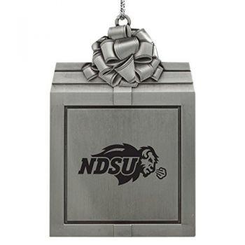 North Dakota State University -Pewter Christmas Holiday Present Ornament-Silver