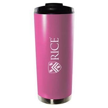 Rice University-16oz. Stainless Steel Vacuum Insulated Travel Mug Tumbler-Pink
