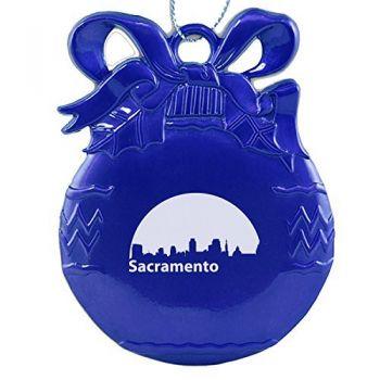 Pewter Christmas Bulb Ornament - Sacramento City Skyline