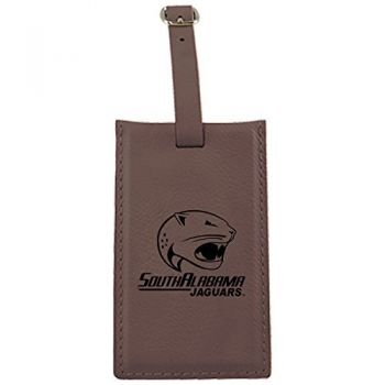 University of South Alabama -Leatherette Luggage Tag-Brown