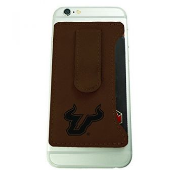 University of South Florida -Leatherette Cell Phone Card Holder-Brown