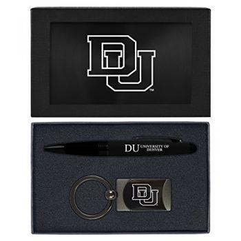 University of Denver-Executive Twist Action Ballpoint Pen Stylus and Gunmetal Key Tag Gift Set-Black