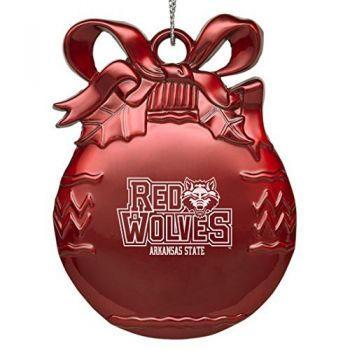 Arkansas State University - Pewter Christmas Tree Ornament - Red