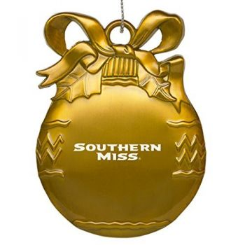 University of Southern Mississippi - Pewter Christmas Tree Ornament - Gold