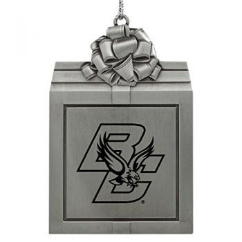 Coston College -Pewter Christmas Holiday Present Ornament-Silver