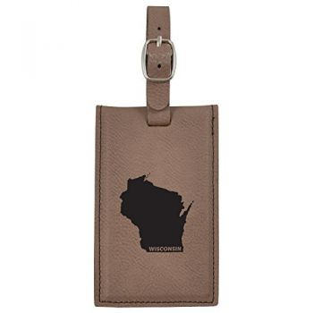 Wisconsin-State Outline-Leatherette Luggage Tag -Brown