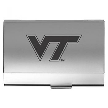 Virginia Tech - Two-Tone Business Card Holder - Silver