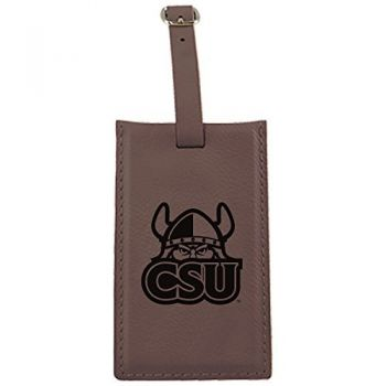 Cleveland State University -Leatherette Luggage Tag-Brown