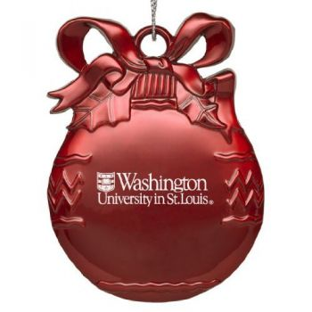 Washington University in St. Louis - Pewter Christmas Tree Ornament - Red
