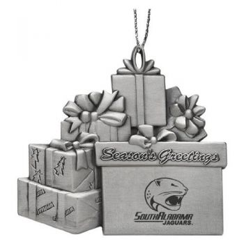 University of South Alabama - Pewter Gift Package Ornament