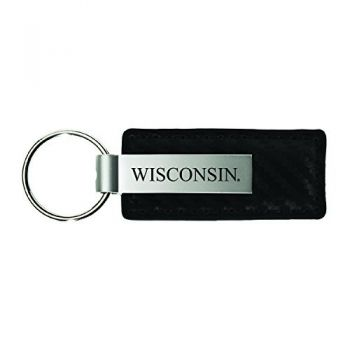 University of Wisconsin -Carbon Fiber Leather and Metal Key Tag-Black