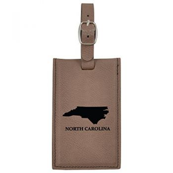 North Carolina-State Outline-Leatherette Luggage Tag -Brown