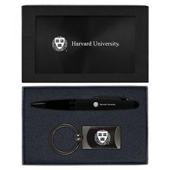 Harvard University -Executive Twist Action Ballpoint Pen Stylus and Gunmetal Key Tag Gift Set-Black