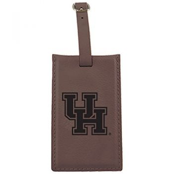 University of Houston -Leatherette Luggage Tag-Brown