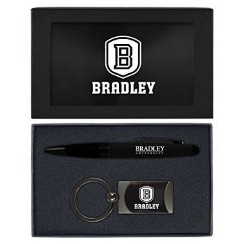 Bradley University -Executive Twist Action Ballpoint Pen Stylus and Gunmetal Key Tag Gift Set-Black