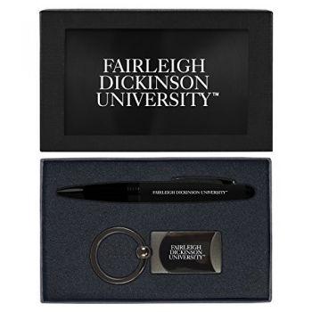 Fairleigh Dickinson University -Executive Twist Action Ballpoint Pen Stylus and Gunmetal Key Tag Gift Set-Black