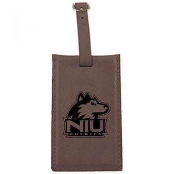 Northern Illinois University -Leatherette Luggage Tag-Brown
