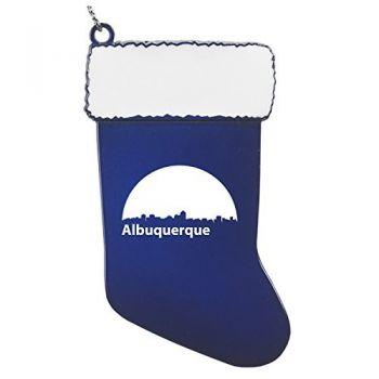 Albuquerque, New Mexico-Christmas Holiday Stocking Ornament-Blue