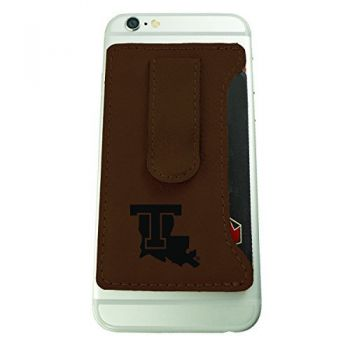 Louisiana Tech University -Leatherette Cell Phone Card Holder-Brown