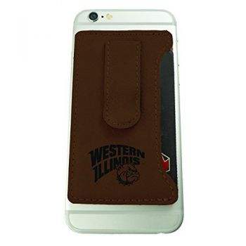 Western Illinois University -Leatherette Cell Phone Card Holder-Brown