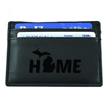 Michigan-State Outline-Home-European Money Clip Wallet-Black