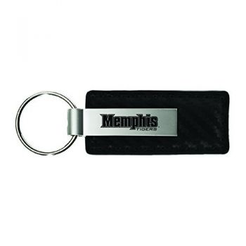 University of Memphis-Carbon Fiber Leather and Metal Key Tag-Black