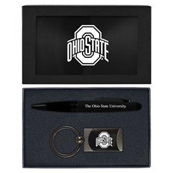 Ohio State University -Executive Twist Action Ballpoint Pen Stylus and Gunmetal Key Tag Gift Set-Black
