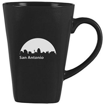 14 oz Square Ceramic Coffee Mug - San Antonio City Skyline