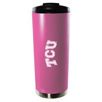 Texas Christian University-16oz. Stainless Steel Vacuum Insulated Travel Mug Tumbler-Pink