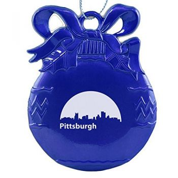 Pewter Christmas Bulb Ornament - Pittsburgh City Skyline