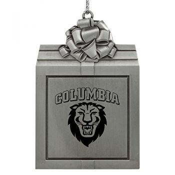 Columbia University -Pewter Christmas Holiday Present Ornament-Silver