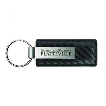 University of Wisconsin-Platteville-Carbon Fiber Leather and Metal Key Tag-Grey