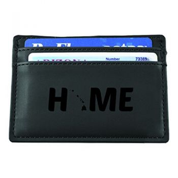 Hawaii-State Outline-Home-European Money Clip Wallet-Black