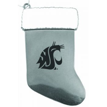 Washington State University - Christmas Holiday Stocking Ornament - Silver