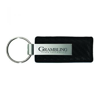 Grambling State University-Carbon Fiber Leather and Metal Key Tag-Black