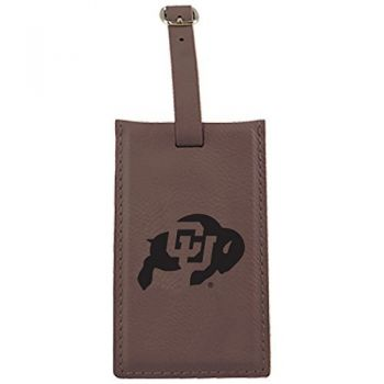 University of Colorado -Leatherette Luggage Tag-Brown