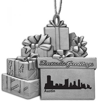 Pewter Gift Display Christmas Tree Ornament - Austin City Skyline