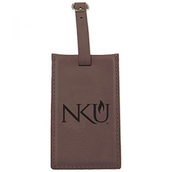 Northern Kentucky University -Leatherette Luggage Tag-Brown