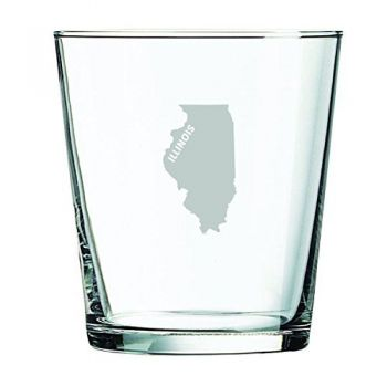 13 oz Cocktail Glass - Illinois State Outline - Illinois State Outline
