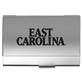 East Carolina University - Two-Tone Business Card Holder - Silver