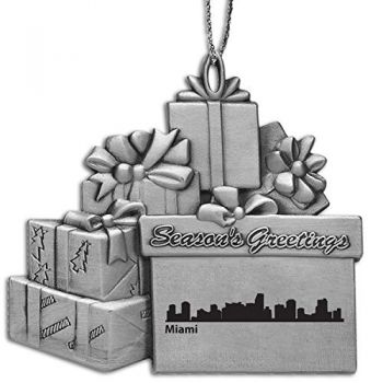 Pewter Gift Display Christmas Tree Ornament - Miami City Skyline